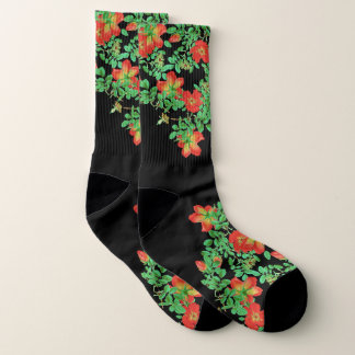 Botanical Red Cabbage Rose Flowers Socks
