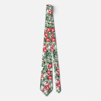 Botanical Red Camillia Flowers Floral Tie