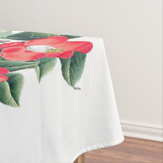 Botanical Red Camillia Flowers Tablecloth