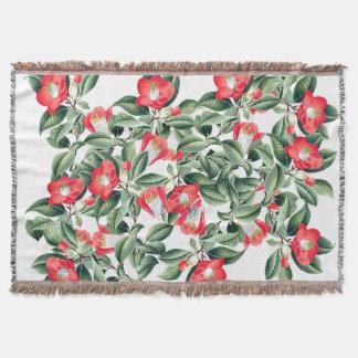 Botanical Red Camillia Flowers Throw Blanket