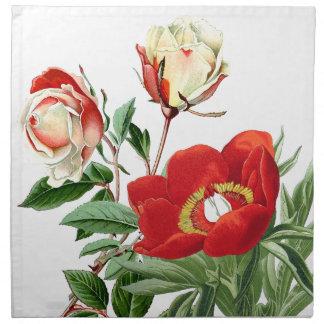 Botanical Red Floral Flower Cloth Napkins