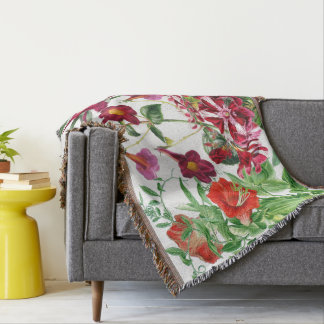 Botanical Red Flowers Floral Throw Blanket