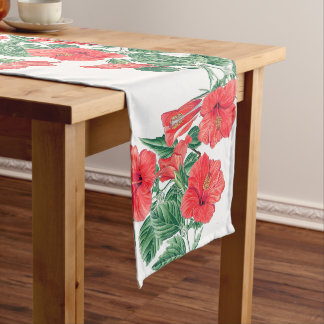 Botanical Red Hibiscus Flowers Table Runner