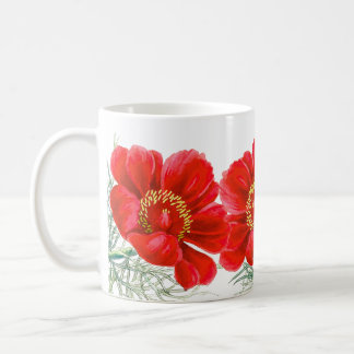 Botanical Red Peony Flowers Floral Mug