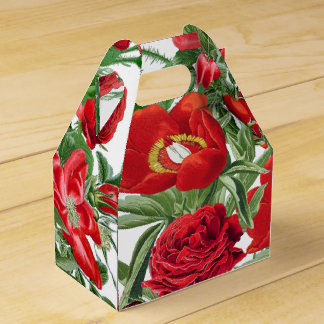 Botanical Red Rose Peony Flowers Floral Favor Box