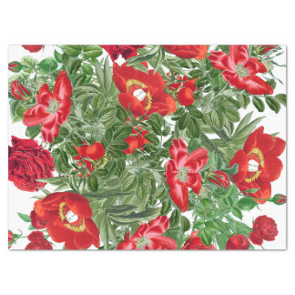 Botanical Rose Peony Flowers Floral Tissue Paper