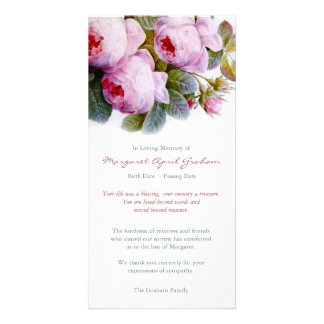 Botanical Roses in Pink Funeral Thank You Card