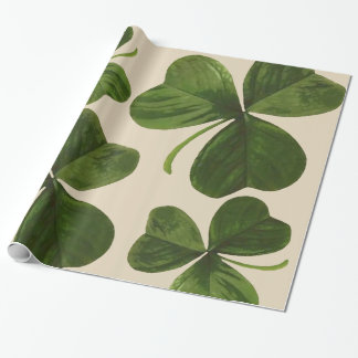 Botanical Shamrocks Photo on Custom Color Wrapping Paper