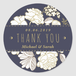 Botanical Spring Flowers Wedding Thank You Sticker