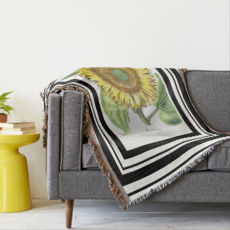 Botanical Sunflower Flower Floral Stripe Throw
