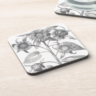 Botanical Sunflower Flowers Floral Coaster