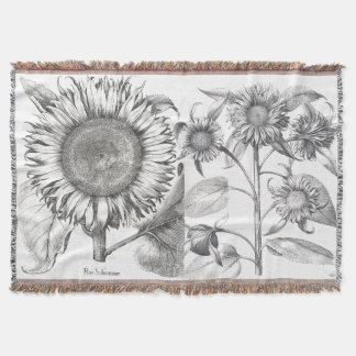 Botanical Sunflower Flowers Floral Throw Blanket