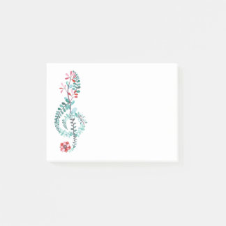 Botanical Treble Clef Post-it Notes