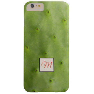 Botanical Tropical Green Cactus Photo Monogram Barely There iPhone 6 Plus Case