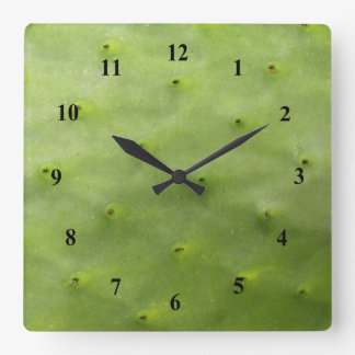 Botanical Tropical Green Cactus Photo Square Wall Clock