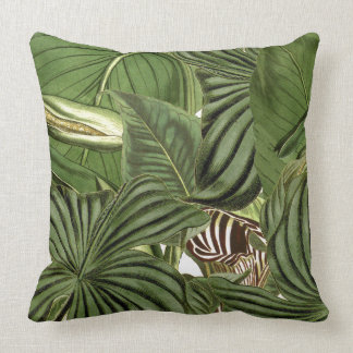 Botanical Tropical Jungle Leaves Throw Pillow