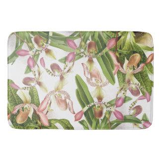 Botanical Tropical Orchid Floral Flowers Bath Mat