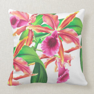 Botanical Tropical Orchid Flowers Floral Pillow