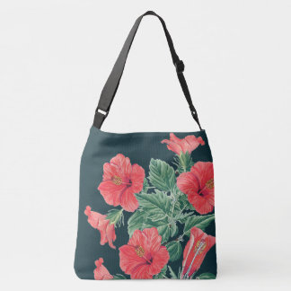 Botanical Tropical Red Hibiscus Flowers Tote Bag