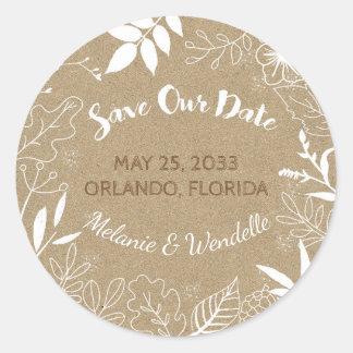 Botanical Typography Wedding Save the Date Round Sticker