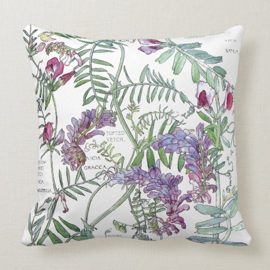 Botanical Vetch Flowers Leaves Throw Pillow