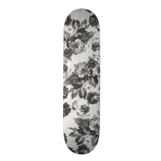 Botanical vintage black white roses floral skateboards