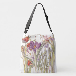Botanical Vintage Crocus Iris Flowers Tote Bag