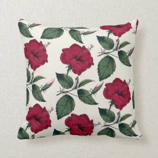 Botanical vintage dark red green ivory chic floral throw pillow
