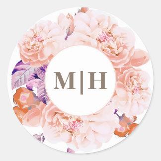 Botanical Vintage Ivory Flowers Monogram Wedding Round Sticker