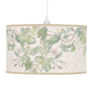 Botanical Vintage Morning Glory Floral Leaves Lamp