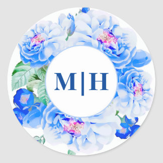 Botanical Vintage Navy Floral Monogram Wedding Round Sticker