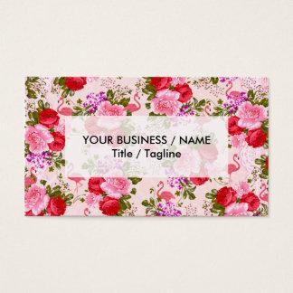 Botanical vintage pink floral watercolor flamingo business card