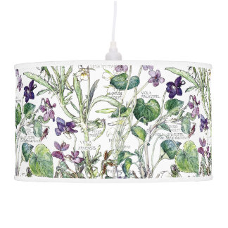 Botanical Violas Violets Flowers Floral Lamp
