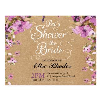 Botanical violet floral kraft paper Bridal shower Postcard