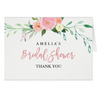 Botanical Watercolor Bridal Shower Thank You Card