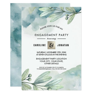 Botanical Watercolor Engagement Party Invitation