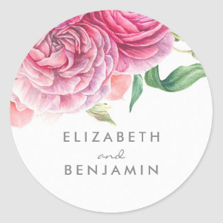 Botanical Watercolor Pink Floral Wedding Round Sticker