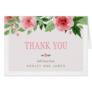 Botanical Watercolor Rose Flowers Thank You Card