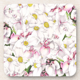 Botanical White Floral Flower Blossoms Coaster