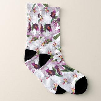 Botanical White Lavender Orchid Flowers Socks 1