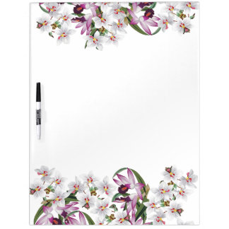 Botanical White Orchid Flowers Dry Erase Board