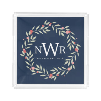 Botanical Wreath | Custom Monogram Acrylic Tray
