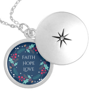 Botanical Wreath Faith Hope Love Silver Plated Necklace