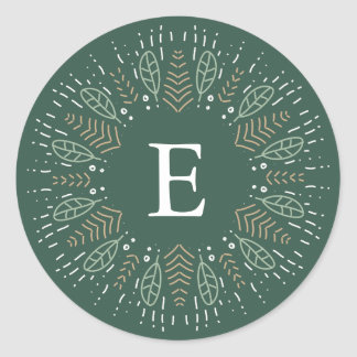 Botanical Wreath Holiday Monogram Classic Round Sticker