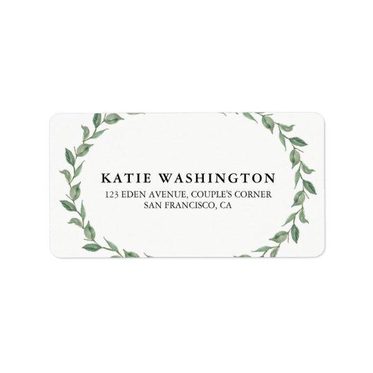 Botanical Wreath & Modern Typography   Address Label
