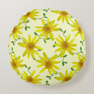 Botanical Yellow Arnica Wildflower on any Colour Round Pillow