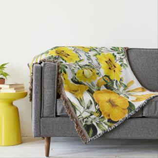 Botanical Yellow Flowers Floral Throw Blanket