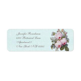 Botanique vintage rose de l'anglais étiquettes d'adresse retour