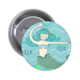 Botom mermaid 2 inch round button
