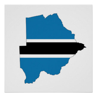 botswana country flag map shape silhouette symbol poster